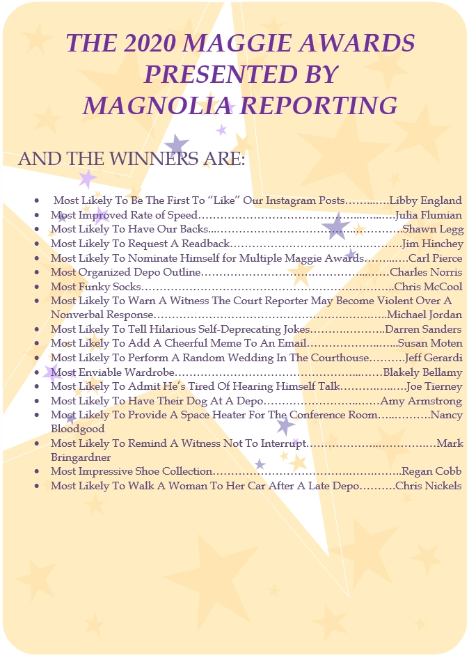 THE 2020 MAGGIE AWARDS PRESENTED BY MAGNOLIA REPORTING
